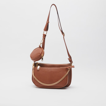 Textured Crossbody Bag with Detachable Pouches