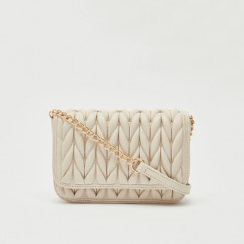 Textured Crossbody Bag with Flap Closure