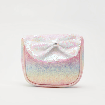 Glitter Accent Crossbody Bag with Bow Applique Detail and Strap
