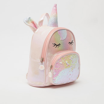 Unicorn Glitter and Sequin Detail Backpack with Zip Closure