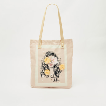 Printed Fabric Shopper Bag with Embellishments