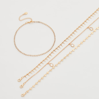 Set of 4 - Assorted Anklet with Lobster Clasp Closure