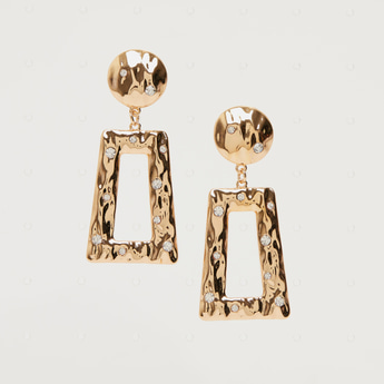 Stone Studded Dangling Earrings with Pushback Closure
