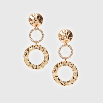 Embellished Long Drop Earrings with Pushback Closure