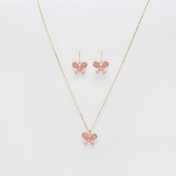 Crystal Embellished Butterfly Pendant Necklace and Earrings Set