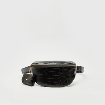 Textured Fanny Pack with Adjustable Strap and Zip Closure