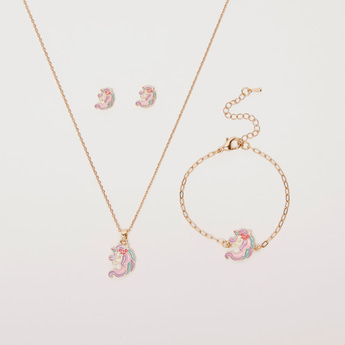 Unicorn Applique 4-Piece Jewellery Set