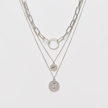 Metallic Layered Necklace with Lobster Clasp