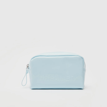 Solid Pouch with Wristlet and Zip Closure