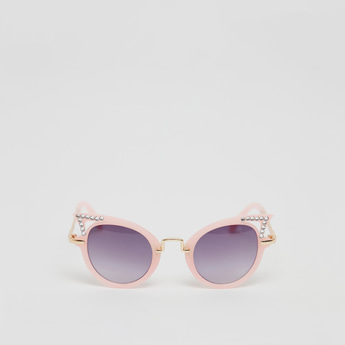 Stone Studded Metal Cat Eye Sunglasses