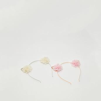 شريطة شعر بزخارف أزهار - طقم من قطعتين