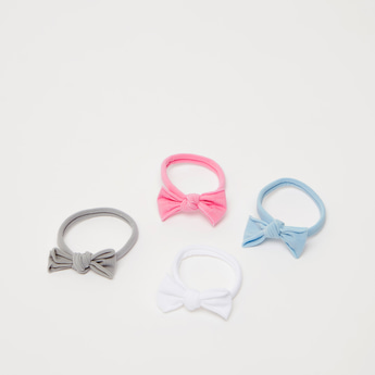 Set of 4 - Bow Applique Detail Hair Ties