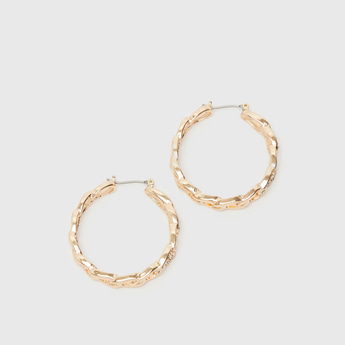 Embellished Detail Hoop Earrings with Hinged Hoop Closure
