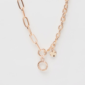 Chainlink Necklace with Pendant and Charm