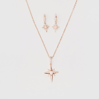 Necklace with Stone Studded Star-Shaped Pendant and Drop Earrings Set