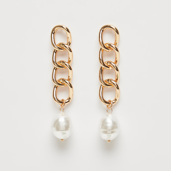 Chunky Chain Pearl Drop Earrings