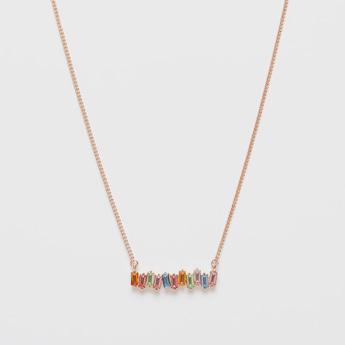 Necklace with Stone Studded Rectangular Pendant