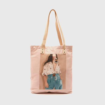 Printed Tote Bag with Pearl Embellishment