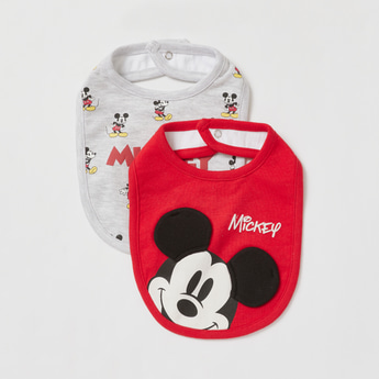 Pack of 2 - Mickey Mouse Print Round Bib with Button Closure