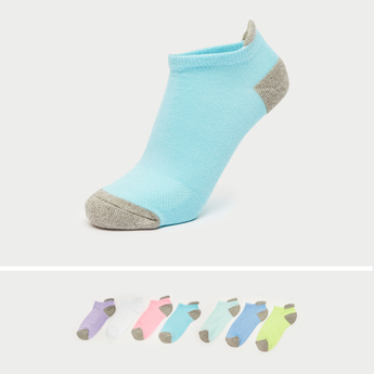 Pack of 7 - Solid Ankle Length Socks with Cuffed Hem