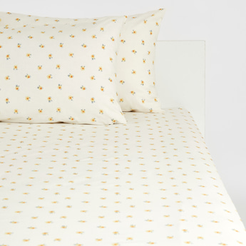 Floral Print King Size Fitted Sheet and Pillow Case Set - 200x180 cms