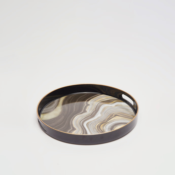 Marble Print Round Serving Tray