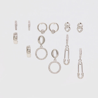 Set of 6 - Stud Detail Earrings with Pushback Closure
