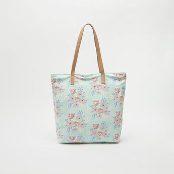 Floral Print Tote Bag with Zip Closure