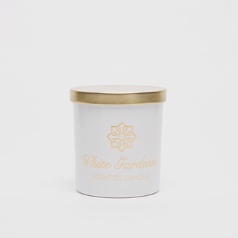 White Gardenia Scented Candle Jar with Lid