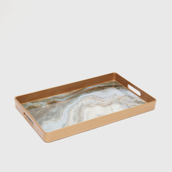 Marble Print Rectangle Serving Tray with Cutout Handles