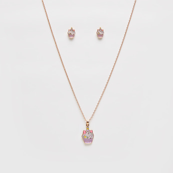 Cupcake Pendant Necklace and Earrings Set