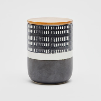 Textured Cylindrical Canister with Lid