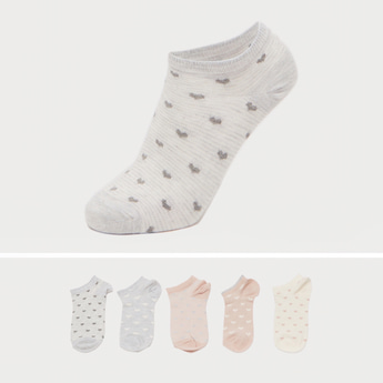 Pack of 5 - Graphic Print Ankle Length Socks with Cuffed Hem