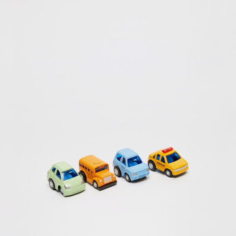 Set of 4 - Pull-Back Car Playset