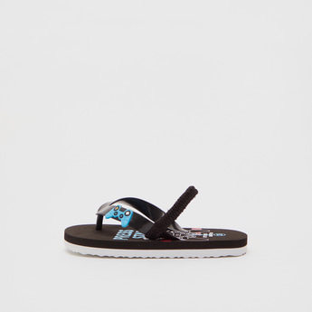 Printed Flip Flops with Applique Detail Straps and Backstrap