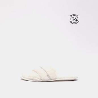 Bead Embellished Cross Strap Bedroom Slippers
