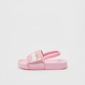 Rainbow Applique Detail Flip Flops with Slingback