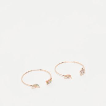 Set of 2 - Applique Detail Open Cuff Bracelets
