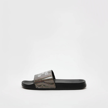Textured Slides with Text Print Vamp Band
