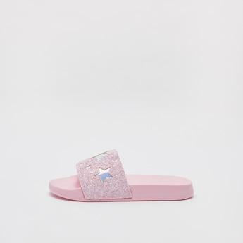 Glitter Embellished Slip-On Beach Slides