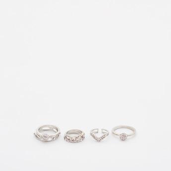 Set of 6 - Embellished Finger Ring Set