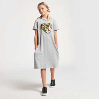 Sequin Detail Sweat Dress with Short Sleeves and Hood