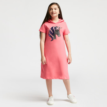 Unicorn Sequin Detail Sweat Dress with Hood and Short Sleeves