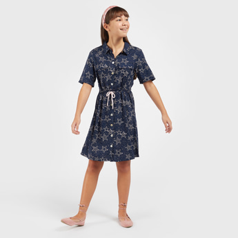 All-Over Print Shirt Dress with Short Sleeves and Tie-Ups