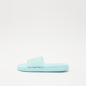 Textured Open-Toe Slide Slippers with Text Print Vamp Band
