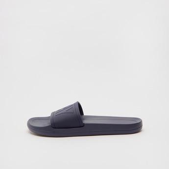 Text Embossed Slip-On Beach Slippers