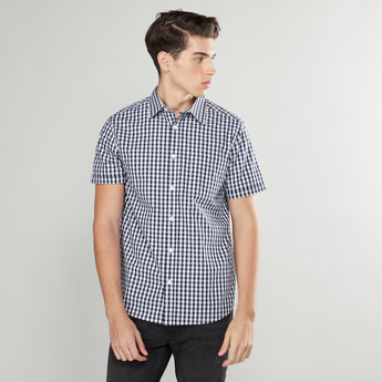 Checked Shirt with Patch Pocket and Short Sleeves