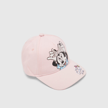 Minnie Mouse Print Cap with Hook and Loop Closure