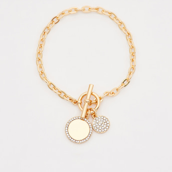Link Bracelet with Stone Sudded Charms