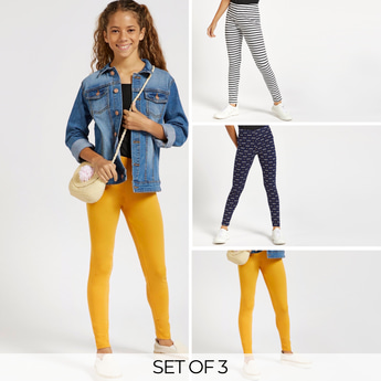 Set of 3 - Assorted Full Length Leggings with Elasticated Waistband